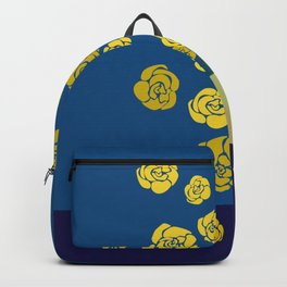 Yellow roses in vase on classic blue Backpack
