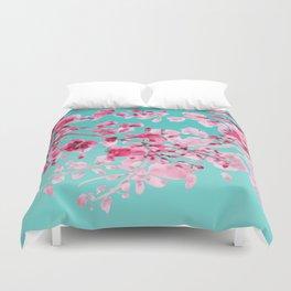 Cherry Blossom Aqua Duvet Cover