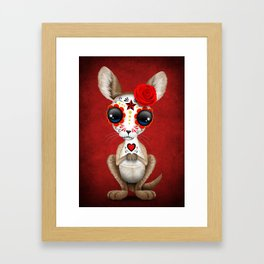 Red Day of the Dead Sugar Skull Baby Kangaroo Framed Art Print
