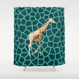 African Giraffe on Blue Camouflage Shower Curtain