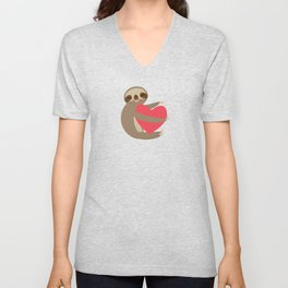 Funny sloth with a red heart Unisex V-Neck