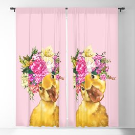 Flower Crown Baby Duck in Pink Blackout Curtain