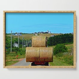 Hay Rolls on the Road in PEI Serving Tray
