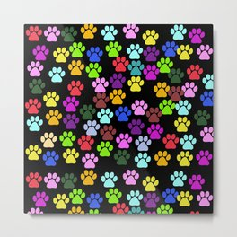 Dog Paws, Trails, Paw-prints - Red Blue Green  Metal Print