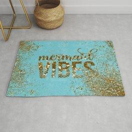 Mermaid Vibes - Gold Glitter On Teal Rug