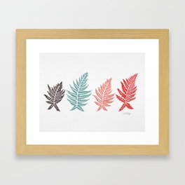 Inked Ferns – Red & Green Palette Framed Art Print