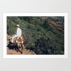 A man and his donkey Art Print