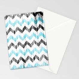 Grunge Chevron black/white/cyan Stationery Cards