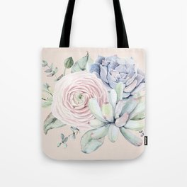 Pretty Pink Succulents Garden Tote Bag