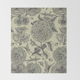 Garden Bliss - vintage floral illustrations  Throw Blanket