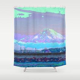 Mt Rainier from Discovery Park Enamel Shower Curtain