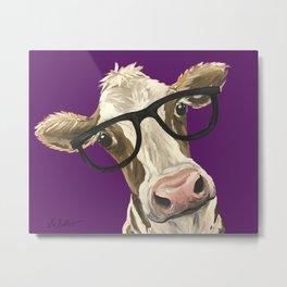 Purple Glasses Cow, Cute Up Close Cow Metal Print