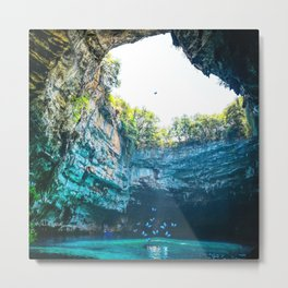 Sea Cave in Greece Metal Print