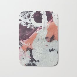 Taboo: a vibrant, abstract, mixed-media piece in purple, orange, and light blue Bath Mat