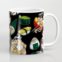 Sushi Black Coffee Mug