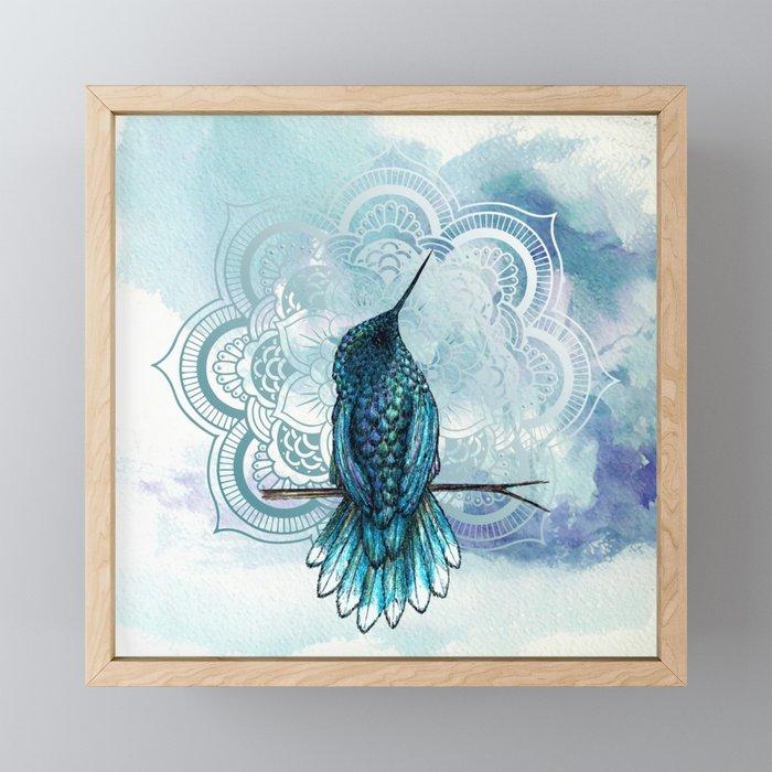 Aquarela hummingbird Framed Mini Art Print
