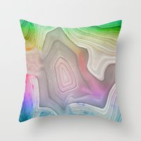 mineral Throw Pillows featuring MINERAL RAINBOW by Catspaws