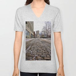 Brooklyn Bridge snow Dumbo Unisex V-Neck
