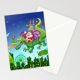 Santa changed his reindeer for a dragon Stationery Cards