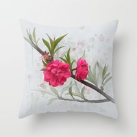 blossom Throw Pillows featuring Blossom by IvanaW
