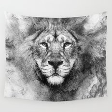 Lion Black and White Wall Tapestry