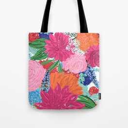 Pretty Colorful Big Flowers Hand Paint Design Tote Bag