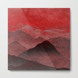 Through hilly lands and hollow lands - Red option Metal Print