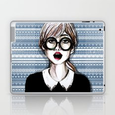 Girl and blue pattern Laptop & iPad Skin