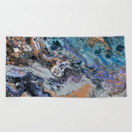 Molten Time (flow art on canvas) Beach Towel