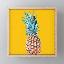 Pineapple Ananas On A Yellow Mellow Background #decor #society6 #buyart Framed Mini Art Print