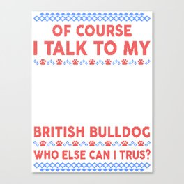 British Bulldog Ugly Christmas Sweater Canvas Print