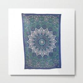 Blue Star Mandala Tapestry Metal Print