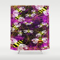 bees Shower Curtains featuring Bees by Marven RELOADED