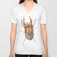 beetle V-neck T-shirts featuring Beetle by Cherry Virginia
