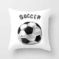 soccer Throw Pillows featuring Soccer by Matthias Leutwyler