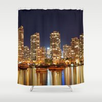 vancouver Shower Curtains featuring Vancouver Skyline by Sebastien Cantin