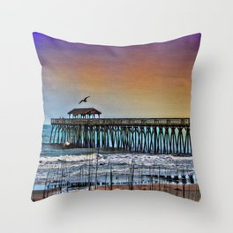Myrtle Beach State Park Pier - Photo as Digital Paint Throw Pillow