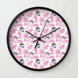 Pink Flowers Fashion Parfume Wall Clock