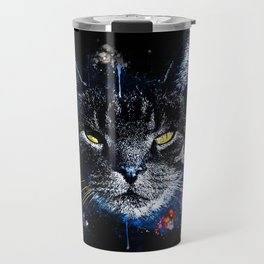 cat yellow eyes splatter watercolor Travel Mug