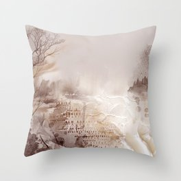 Bleak Beauty - Abstract Landscape in Shell Pink and Aubergine Throw Pillow