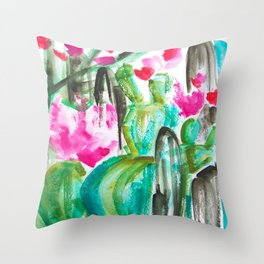 Pink Happy Plants Throw Pillow
