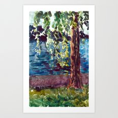 Willows at Lutry Art Print