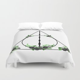 Deathly Hallows in Green and Gray Duvet Cover