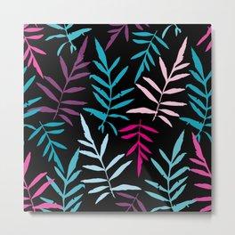 leafs tropical fern palm. Magenta pink purple sky blue aqua silhouette on black background Metal Print