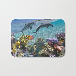 Coral Reef and Dolphins Bath Mat