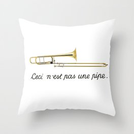Trombone Surrealism Throw Pillow