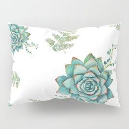 Fern and Succulent Pattern Pillow Sham