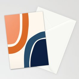 Abstract Shapes 34 in Burnt Orange and Navy Blue Stationery Cards