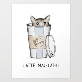 Latte Mac-cat-o Art Print