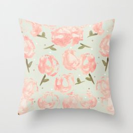 Syana's Cabbage Roses Throw Pillow